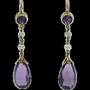 Vintage 14K Gold Amethyst Cultured Seed Pearl Earrings