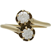 Victorian 14K Gold and Diamond Bypass Ring