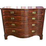 American Federal 18th Century Mahogany Serpentine Front Chest Of Drawers