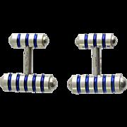 Tiffany & Co. Sterling Silver Enamel Barbell Cufflinks
