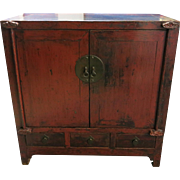 19th Century Chinese Red Lacquered Cabinet