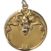 Victorian Gold Repousse Lion with Diamond Locket