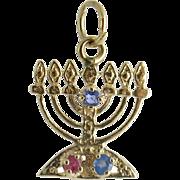 Judaica 14K Gold Jeweled Menorah Charm / Pendant
