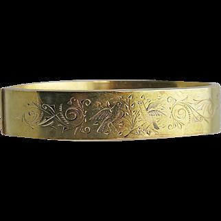 Victorian 14K Gold Engraved Cuff Bracelet