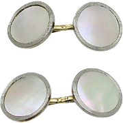 Edwardian Larter & Sons 14K Gold Mother of Pearl Cufflinks