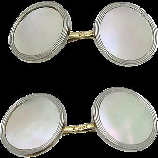Edwardian Larter & Sons 14K Gold Mother of Pearl Cufflinks