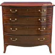English George III Mahogany Bow Front Chest Of Drawers