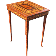 Late 19th C. Italian Marquetry Jewel Table