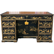 Nineteenth Century English Japanned Pedestal Desk