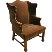18th Century English George III Mahogany Wing Chair
