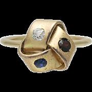 Antique 14K Gold Sapphire Diamond Ruby Love Knot Stick Pin Conversion Ring