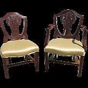 Set Of Eight English George III Mahogany Shield Back Chairs