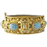 Victorian Large Costume Cuff Bangle Bracelet, Faux Turquoise