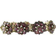 Victorian Revival Gilt Silver Garnet and Cultured Seed Pearl Bracelet
