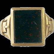 Men's Victorian 10K Gold Bloodstone Belt Design Ring
