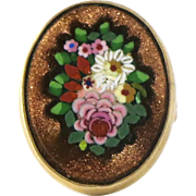Antique Micro Mosaic 14K Gold Fower Ring