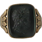 Men's Victorian Gold Carved Intaglio Carnelian Ring