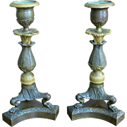Pair French Gilt And Patinated Bronze Charles X Candlesticks