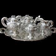 19th Century Five Piece German Baroque Style Silver Tea Set