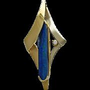 18K Gold Black Opal Doublet & Diamond Pendant