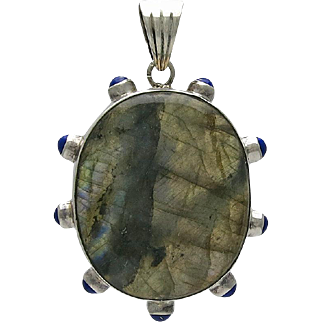 Large Sterling Silver Labradorite and Blue Hard Stone Pendant
