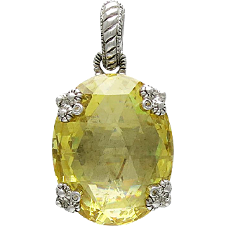 Judith Ripka Canary Crystal Sterling Silver Pendant Pearl Enhancer