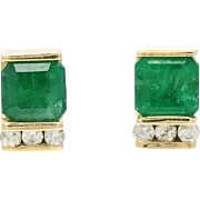 Vintage 14K Gold Emerald and Diamond Earrings