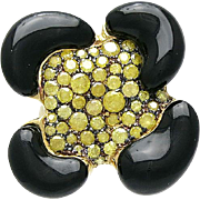 Large 18K Gold Onyx & Yellow Sapphire Flower Ring