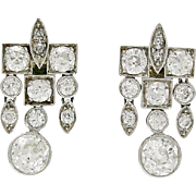 Art Deco Platinum & Diamond Screw Back Post Earrings