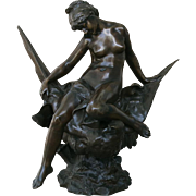"Jules P. Roulleau "" Hebe And The Eagle Of Jupiter "" Bronze"