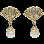 14K Gold Diamond Cultured Pearl Drop Pierced Earrings