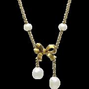 Art Nouveau 14K Gold Pearl Bow Lavalier Necklace