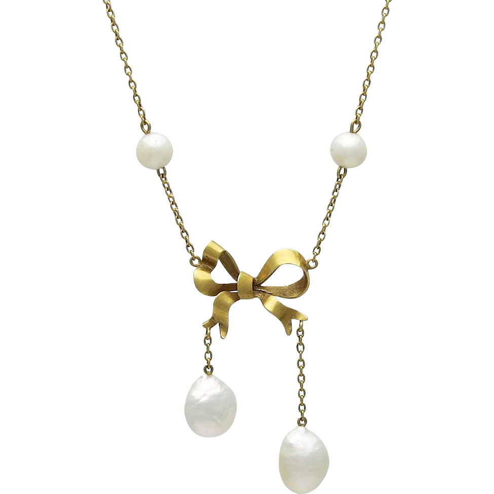 Art Nouveau 14K Gold Pearl Bow Lavalier Necklace