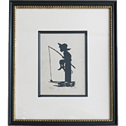 "Carew Rice ""Fishing "" Paper Silhouette Circa 1930-1940"