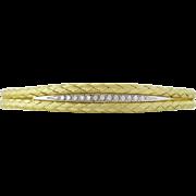 14K Gold Braided Diamond Bangle Bracelet