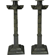 Antique Bronze Square Column Candlesticks