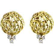 Pair 18K Gold Branch Dome And Diamond Earrings