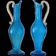 Pair Of Italian Blue Murano Glass Tall Ewers