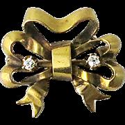 Early Krementz Art Nouveau 14K Gold Bow Pin with Diamonds