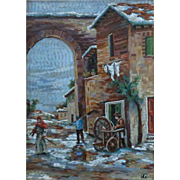 Scenic Florentine Micromosaic Plaque F. Traversari 1982