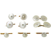 Antique Larter 14K Gold MOP Pearl Cufflinks Full Dress Set