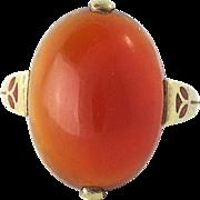 Victorian 14K Gold Cabochon Carnelian Enamel Ring