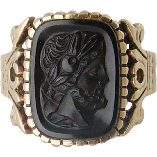 Victorian Men's Gold Carved Hard Stone Profile Portrait Ring