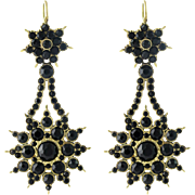 Victorian 14K Gold and Jet Night and Day Earrings