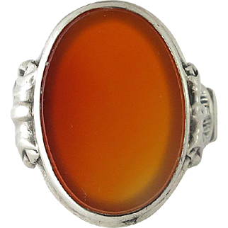 Continental Silver Carnelian Men's Ring