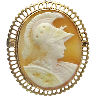 Victorian 10K Gold Neoclassical Carved Shell Cameo Brooch