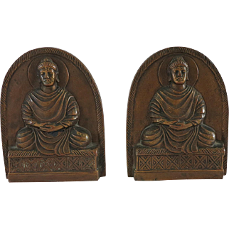 Bronze Seated Buddha Bookends Early 20th Century