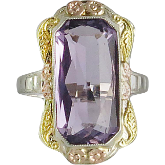 Art Deco 14K Tri Color Gold and Amethyst Ring