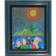 "N. Ojeda ( Nina Ohman ) "" Figures With Mountain And Sun "" Acrylic On Canvas"