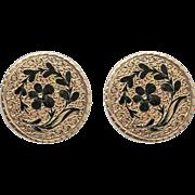 Victorian 10K Gold Enamel Pierced Post Earrings